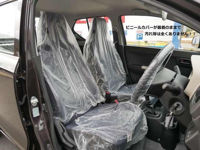 ビニールカバーが装着されたままの車内はスズキの工場から当店に到着したままの状態ですのでピッカピカ♪