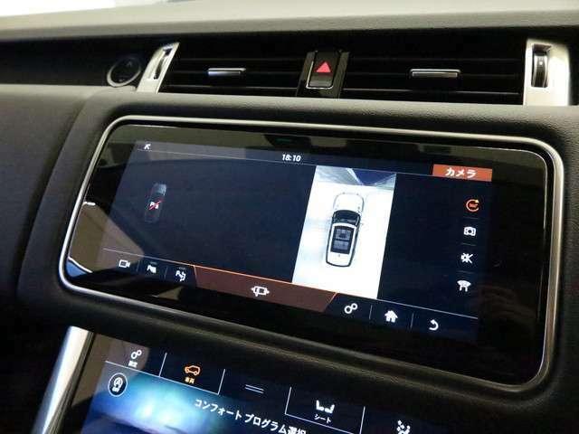 サラウンドカメラシステム「車載カメラにて、車の前後だけではなく左右も映像をディスプレイに表示。狭い場所での駐車などに役立ちます。」