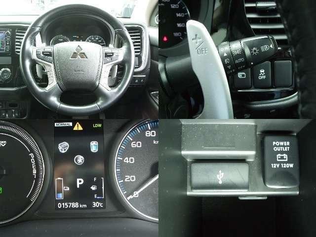 走行距離15788km。革巻きのステアリングにはレーダークルーズコントロールスイッチや、オーディオスイッチ、マルチアラウンドモニター切り替えスイッチが付いています。