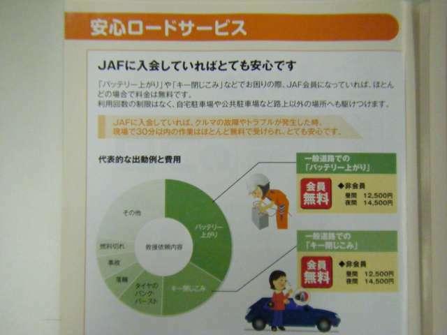 JAFに入会していれば、車の故障やトラブルが発生したとき現場で30分以内の作業はほとんど無料で受けられ、とても安心です。