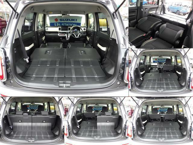 様々なシートの変化も可能です。前方の助手席も倒せるので長い荷物もOK♪ 広々のラゲッジには大きい荷物も余裕で載せられます。フラットにしてエアーマットを敷けば、車中泊などにも活躍します!