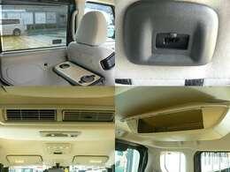 後部座席にはテーブルがついていて、その下にはUSBポートがついているので充電も可能です。サーキュレーターがついているので後部席も暖かくすごせます。また、後部席の天井部に大きめの収納があるので便利です。