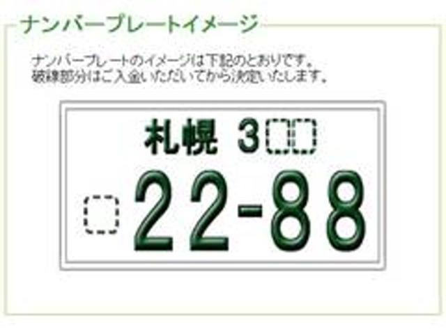 Aプラン画像:ナンバープレートをお好きな番号に!大きい数字4桁のみ。1桁、2桁、3桁でもOKです。(一部抽選になる場合もあります)