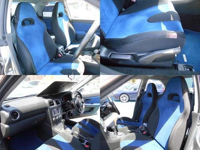 シートカラーはブルー&ブラックです!!フロントシートはホールド感がありロングドライブでも疲れにくい設計です!!運転席にはシートリフレクター付きでお好きなポジションに設定可能でとっても便利です!!!