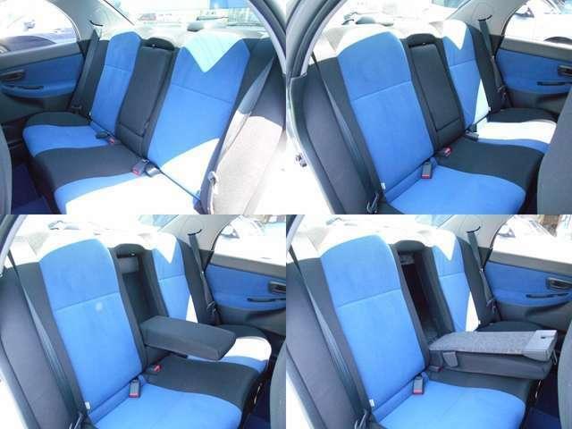シートはこの年式では珍しくしっかりブルーカラーがきれいに残って私見では良い状態だと思います!!センターアームレスト部分はトランクスルー機能付きで長いお荷物の積込時にとっても便利です!!!
