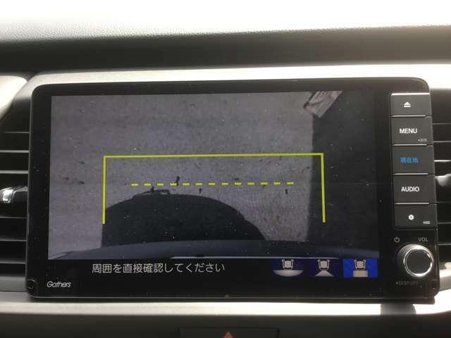 バックカメラはワイドカメラになっていますので、3種類の映像が選択可能です☆これはトップダウンビュー♪