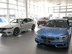 明るいショールームには、新型車輌を展示致しております。
