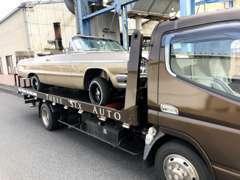 全国納車へ伺います!事故やトラブルの際も、レッカー対応させて頂きます!大きなアメ車も積める積載車がございます!