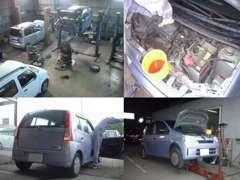 工場風景リフト3台設置 仕入車両点検●エンジン内部の冷却系統のオーバーヒート危険性点検●マフラー白煙点検●4WD作動点検