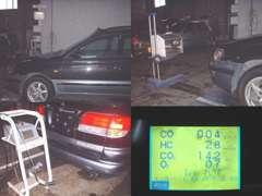 ●ライト・サイドスリップ・排ガス測定風景 ●一般整備・車検の時に、車の状態を解りやすくきちんとお答えしますので、安心です