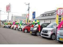 広い展示場に常時人気の軽自動車の未使用車を展示しております。