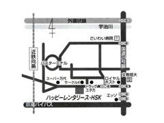 車の場合は国道24号線、目川の交差点(ロイヤルホスト角)を西へ700m2件目のサークルKの向。HPはHSKコーポレーションで検索