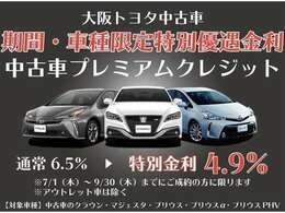 大阪トヨタ中古車では、9/30(木)までの期間と車種限定で、プレミアム(残価設定型)クレジットの優遇金利キャンペーンを行います。是非この機会にご利用ください。【大阪府在住の方に限る】