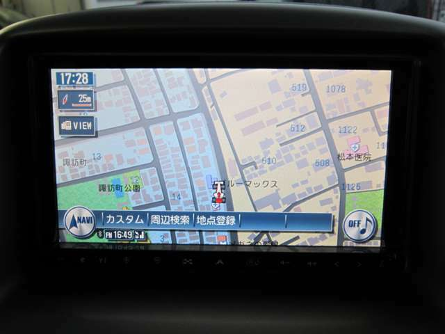 ★ナビ画面のアップ写真です。フルセグTV・Bluetoothオーディオ・HDDミュージック・DVDビデオの再生が可能です。