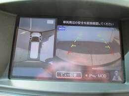 車の上から見下ろしたような360度視界の良いアラウンドビューモニターです!狭い駐車場、暗い所でも安心です!