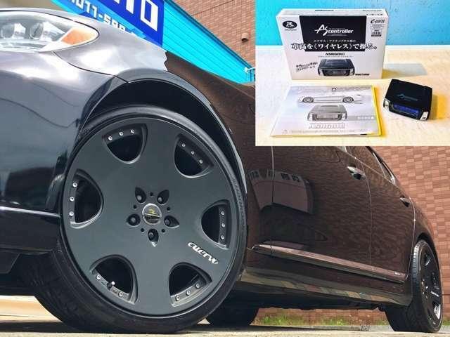 足元はFLEDERMAUS CUERVO 21インチAW(LS専用設計)を装着(*'▽') カラーはブラックボディに合わせて、漆黒のつや消しマットブラックをチョイス♪チョイワルな外観に?! ワイヤレスのサスコンも新品装着済み♪