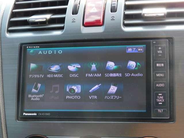 ナビは、PanasonicストラーダのHDDナビです。CDなどの録音が可能です。もちろん、DVDも鑑賞出来、Bluetoothオーディオも接続可能なので、スマホなどリンクして音楽なども聴けますよねっ^^もちろんフルセグTVです。