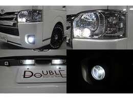 純正LEDヘッドライト装備です。ポジションランプ・フォグランプ・ナンバー灯はLEDを取付済みです。