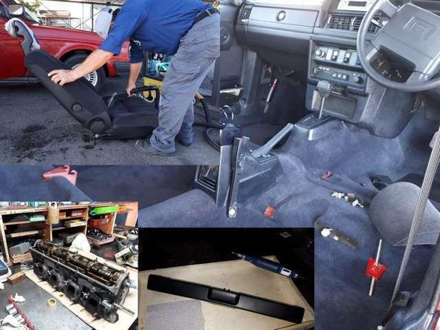 納車前整備の一例です。商品車として丁寧に仕上げ中です。内外装バラバラで作業中ですので写真はありませんが、ご来店お待ちしております。