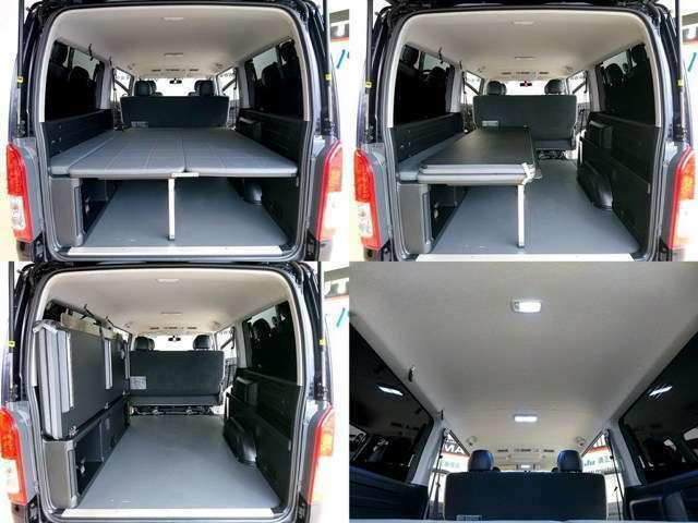 モデリスタ MRT タイプII専用ベッドキットです オプションで約20万円相当です 片側にスッキリ収納も良くできてますね、床材の硬質素材も良いですね