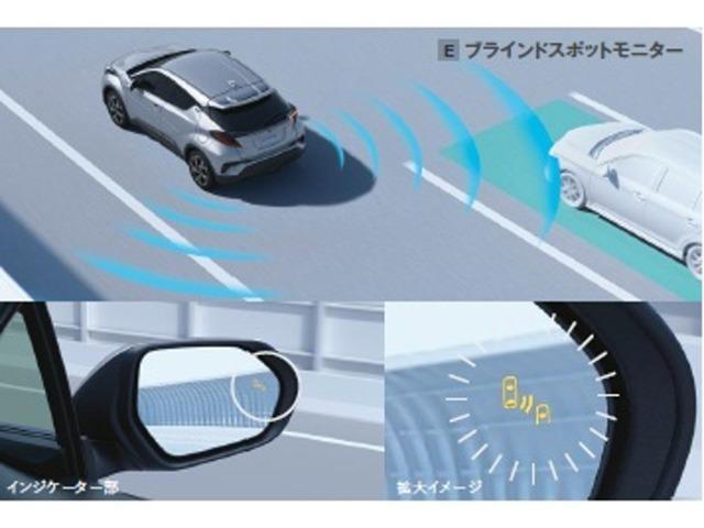 車線変更時の後方確認をアシストするメーカーオプションのブラインドスポットモニターを装備しております。