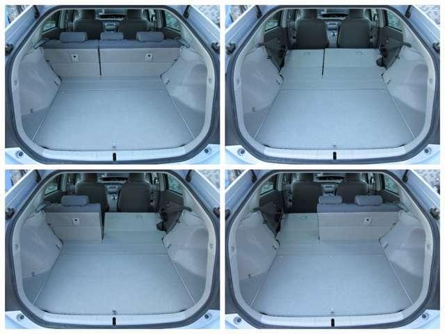 ラゲッジスペースは後部座席を倒すと更に広々とした収納スペースが確保出来ます♪フロアもフラットになりますので荷物の出し入れもラクラクです♪好みの用途に応じてシートをアレンジして下さい♪