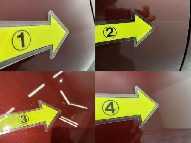 1、右Rフェンダーに凹み 2、右ドア凹みと5cm傷 3、ボンネットタッチアップ跡 4、左Rドア凹み  ※掲載写真以外にも、年式や走行距離に応じた微細な傷がある場合がございます。予めご了承ください。