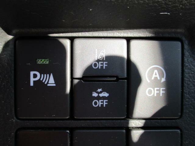 (左から)駐車時後方ブレーキサポート、車線逸脱警報OFF、前方衝突被害軽減ブレーキOFF、アイドリングストップOFF、各スイッチです。(^○^)