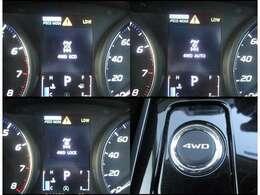 プッシュ式のドライブモードセレクターで、「4WD ECO」「4WD AUTO」「4WD LOCK」の3モードに切替ができます。通常は「4WD ECO」になっています。