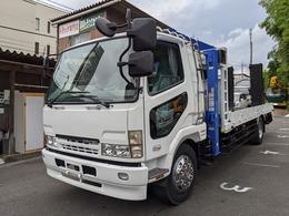 三菱ふそう ファイター 増トン大型5.9t重機運搬車 フジタ製 回送車 タダノハイジャッキ3段クレーン2.9t吊