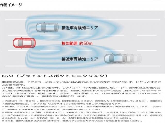 リアバンパーの内側に設置したレーダーで隣車線上の側方および後方から接近する車両を検知すると、検知した側のドアミラーの鏡面に備えたインジケーターの点灯でドライバーに通知するBSM。