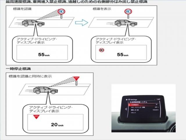 走行中にフォワードセンシングカメラが認識した交通標識を、アクティブドライビングディスプレイに表示することで、交通標識の見落とし防止を図り、安全運転を支援する交通標識認識システム。
