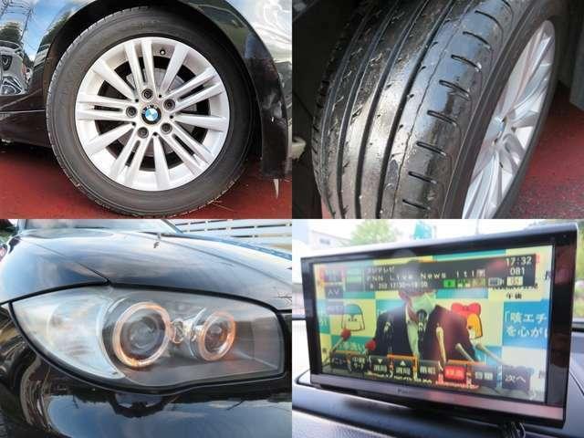 タイヤの溝もご覧の通りまだまだございます♪バイキセノンヘッドライト♪くもりやすいヘッドライトもとてもキレイ♪ヘッドライトがキレイだと車のイメージもグッと良くなりますよね♪フルセグTV視聴可能♪