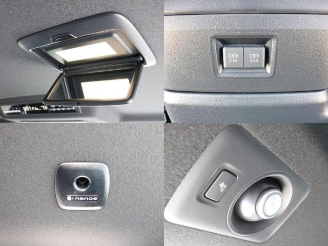 アクセサリーは他にも、リア天井に設置された照明付きルームミラー、パナソニックが商標を持つ環境改善装置ナノイー、3段階で明るさを調整できる白色スポットライトが設置されております。