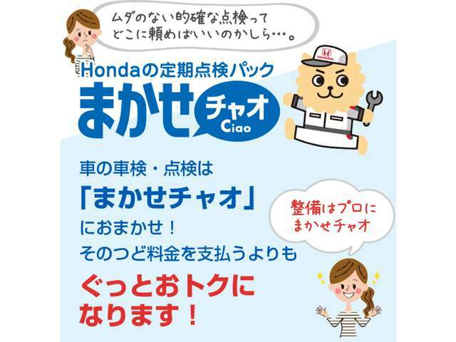 Hondaお勧めの点検パックです、Honda認定中古車店でしか加入できない安心快適プランです、購入と併せて是非ご加入下さい!※Bプランに別途有料でご加入頂けます。