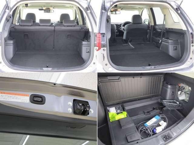 開口部の広い荷室です。荷物の大きさに応じてシートアレンジが可能です。