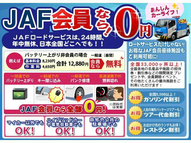 Aプラン画像:JAFは自動車ユーザーの皆さまの「安全と安心の支え」となるサービスを提供します。