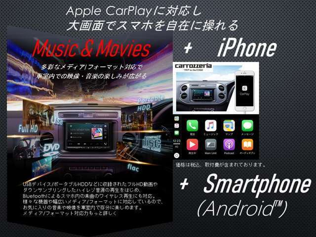 Bプラン画像:USBデバイスやポータブルHDDを接続でき、フルHD動画や高音質な音楽を楽しめます。iPhoneやiPod、スマートフォン(Android)など様々なメディアに対応し、iPhoneでは音楽アプリの再生