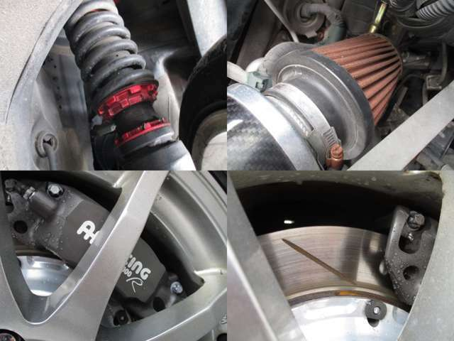 BLITZ車高調 エアクリ 社外4ポッドキャリパー スリットローター装備