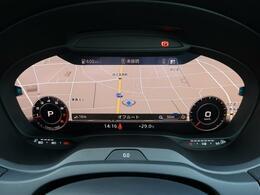 【Audi バーチャルコックピット】液晶フルデジタルディスプレイにスピードメーター、タコメーター、マップ表示、メディア情報などフレキシブルに表示させるバーチャルコックピットを装備。