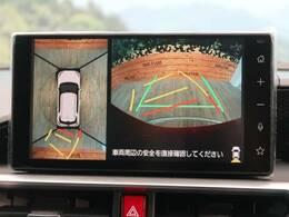 ●【パノラミックビューパッケージ】映像で見えづらい障害物の確認をサポート。車両の前後左右に搭載した4つのカメラにより、クルマを真上から見ているような映像を表示。運転席から確認しにくい車両周囲の状況を把