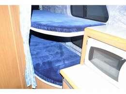 常設二段ベッド付になります!二段ベッド寸法は上段195cm×70cm、下段195cm×75cmとなっております!