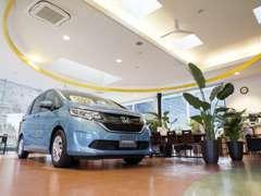 落ち着いた雰囲気の店内には新車の展示車もご用意しております。