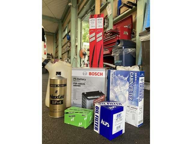 Bプラン画像:バッテリー、エアエレメント、エンジンオイル、エアエレメント、エアコンフィルター、ブレーキパッド、ワイパーゴム