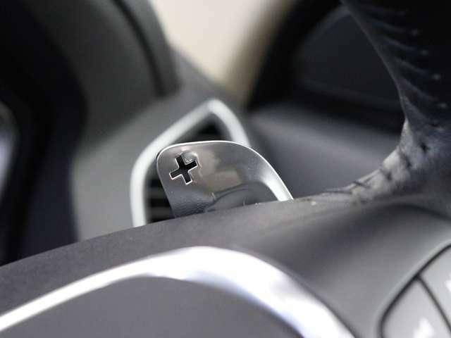 マニュアルモードで走行中も、シフトアップやダウンのためにセレクターレバーに手を伸ばす必要はありません。パドルシフトを使用すれば、両手をステアリングホイールに置いたまま変速することができます。