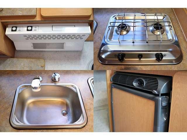 レンジフード 2口コンロ シンク 40L冷蔵庫