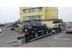 車検・修理・板金・故障・事故 どんな場合も積載車にてお引き取りに伺います。大切な愛車、安心してお預けください。