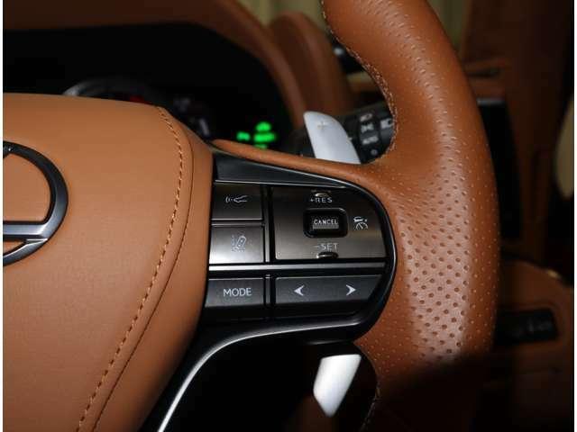ハンドルから手を離す事なく、オーディオを操作する事が出来るステアリングスイッチ。視線の動きが少なく安全性も上がります。