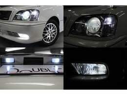 ヘッドライトも綺麗です!ディスチャージヘッドライト装備です。フォグランプ・ポジションライト・ナンバー灯はLEDを取付済みです。