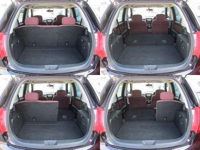 ラゲッジスペースは後部座席を倒すと更に広々とした収納スペースが確保出来ます♪床面もフラットになりますので荷物の出し入れもラクラクです♪好みの用途に応じてシートアレンジをして下さい♪